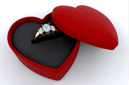 Image of a ring in a heart shaped box