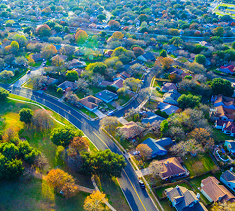 overhead drone photo of neighborhood
